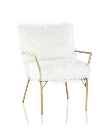 CosmoLiving by Cosmopolitan Sully Accent Chair with Faux Fur Cushions