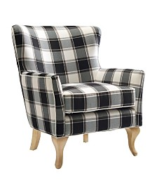 Dorel Living Bates Checkered Pattern Accent Chair