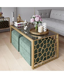 CosmoLiving byCosmopolitan Juliette Coffee Table and Two Ottomans Set
