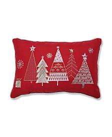 Christmas Star Topped Trees Lumbar Pillow