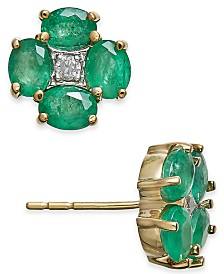 Emerald (1-5/8 ct. t.w.) & Diamond Accent Clover Stud Earrings in 14k Gold