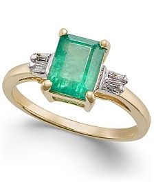 Emerald (1-3/4 ct. t.w.) & Diamond (1/8 ct. t.w.) Statement Ring in 14k Gold