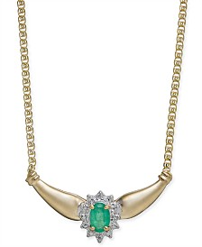 "Emerald (1/2 ct. t.w.) & Diamond (1/6 ct. t.w.) Fancy 16"" Collar Necklace in 14k Gold"