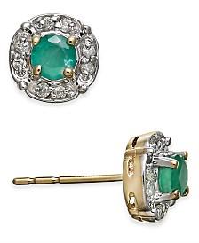 Emerald (3/8 ct. t.w.) & Diamond Accent Stud Earrings in 14k Gold