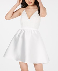 Emerald Sundae Juniors' Lace-Top Fit & Flare Dress