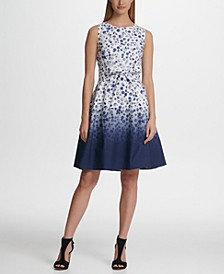 Ombre Dot Tie Fit Flare Dress