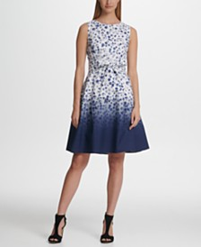 DKNY Ombre Dot Tie Fit Flare Dress