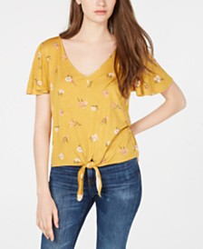 Hippie Rose Juniors' Printed Tie-Waist T-Shirt