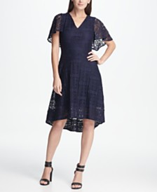DKNY Lace High-Low A-Line Dress