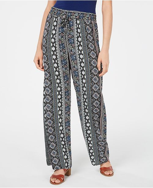 Be Bop Juniors' Printed Pull-On Wide-Leg Pants