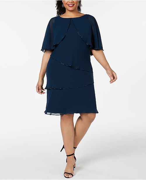SL Fashions Plus Size Tiered Capelet Dress & Reviews ...