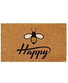 """Bee Happy 17"""" x 29"""" Coir/Vinyl Doormat"""