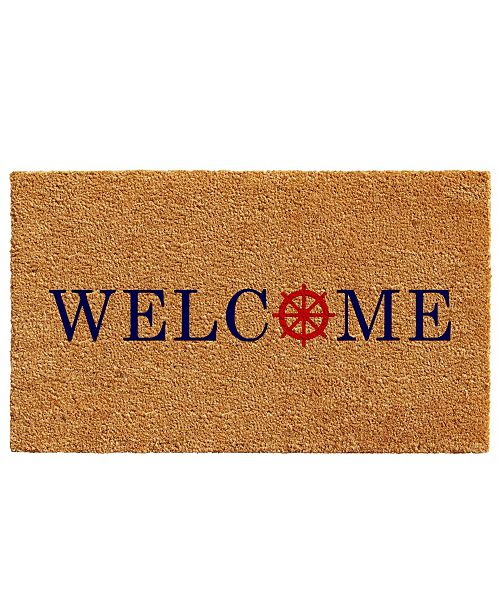 "Home & More Ships Wheel Welcome 17"" x 29"" Coir/Vinyl Doormat"