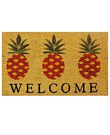 """Pineapple Welcome 17"""" x 29"""" Coir/Vinyl Doormat"""
