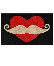 """Moustache Love 17"""" x 29"""" Coir/Vinyl Doormat"""