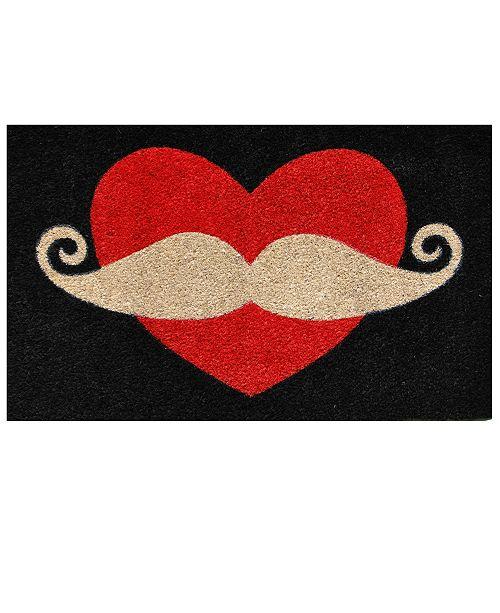 "Home & More Moustache Love 17"" x 29"" Coir/Vinyl Doormat"