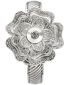 Charter Club Women's Silver-Tone Flip Crystal Flower Bracelet Watch 35mm, Created for Macy's
