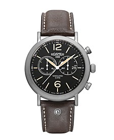 Men's Chronograph 42 mm Dress Watch in Steel Case on Strap
