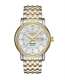 Men's 3 Hands Day Date 42 mm Dress Watch in Steel Case and Bracelet