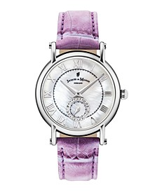 Jacques Du Manoir Ladies' Purple Genuine Leather Strap with Stainless Steel Case with Mother of Pearl Dial and Diamond Sub Dial, 36mm