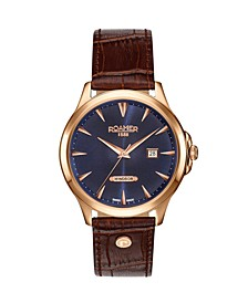 Men's 3 Hands Date 40 mm Dress Watch in Steel Case on Strap