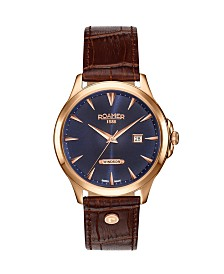 Roamer Men's 3 Hands Date 40 mm Dress Watch in Steel Case on Strap