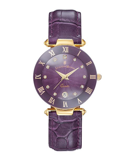 Jaques Du Manoir Jacques Du Manoir Ladies' Purple Genuine Leather Strap with Goldtone Case and Purple Dial with Diamond Markers, 33mm
