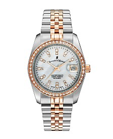 Jacques Du Manoir Ladies' Two Tone Silver or Gold Rose Stainless Steel Bracelet with Twotone Case and Mother of Pearl Dial and Diamond Markers and Bezel, 36mm
