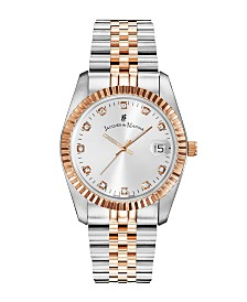 Jacques Du Manoir Ladies' Two Tone Silver or Gold Rose Stainless Steel Bracelet with Twotone Rosegoldtone Case and Mother of Pearl Dial, 36mm