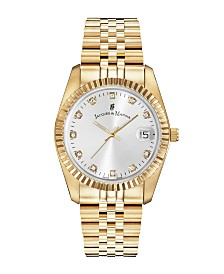 Jacques Du Manoir Ladies' Goldtone Stainless Steel Bracelet with Goldtone Case and Mother of Pearl Dial and Diamond Markers, 36mm
