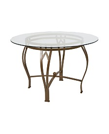 "Offex 45"" Round Glass Dining Table with Metal Frame"