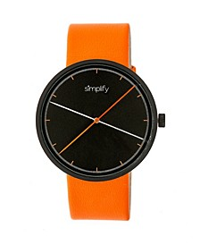 Quartz The 4100 Black Dial, Genuine Orange Leather Watch 43mm