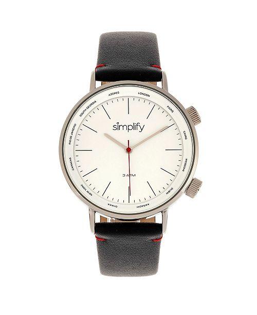 Simplify Quartz The 3300 Silver Case, Genuine Black Leather Watch 43mm