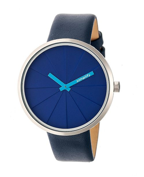 Simplify Quartz The 4000 Genuine Blue Leather Watch 43mm