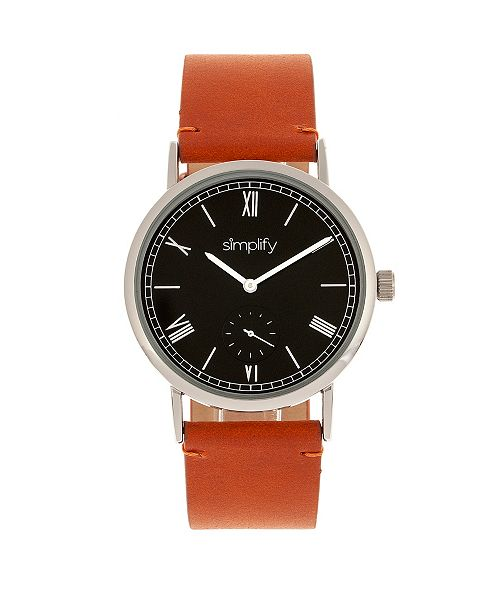 Simplify Quartz The 5100 Black Dial, Genuine Camel Leather Watch 40mm