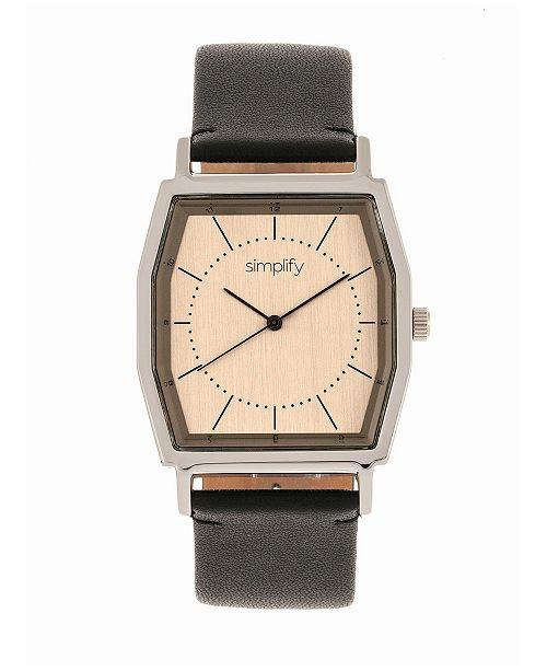 Simplify Quartz The 5400 Bronze Dial, Genuine Black Leather Watch 40mm