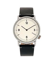 Quartz The 5500 Silver Case, Genuine Navy Leather Watch 41mm