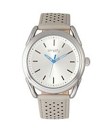 Simplify Quartz The 5900 Silver Case, Genuine Grey Leather Watch 43mm