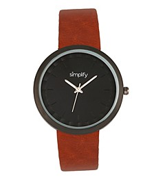 Quartz The 6000 Light Brown Leatherette Watch 43mm