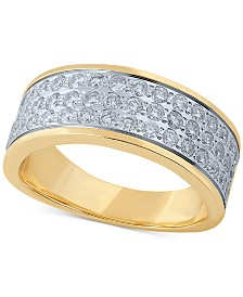 Diamond Three-Row Band (1 ct. t.w.) in 14k Gold