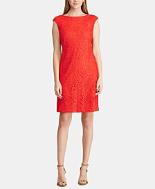 Lauren Ralph Lauren Petite Lace Cap-Sleeve Dress