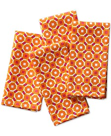 C. Wonder Octagon Geo Orange Napkins, Set of 4