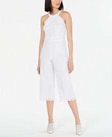 Maison Jules Sleeveless Eyelet Cropped Jumpsuit, Created for Macy's