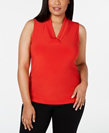 Anne Klein Plus Size Pleated-Neck Top