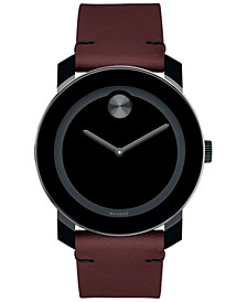 Men's Swiss Bold Red Leather Strap Watch 42mm