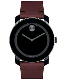 Movado Men's Swiss Bold Red Leather Strap Watch 42mm