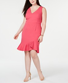 Betsey Johnson Plus Size Flounce-Hem Sheath Dress