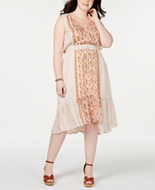 Lucky Brand Plus Size Felice Printed Drawstring-Waist Dress