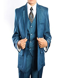 Solid Textured Classic Fit 2 Button Vested Suits for Boys