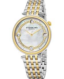 Stuhrling Women's Quartz Watch, Silver Case, MOP Dial, Silver and Gold Tone Bracelet